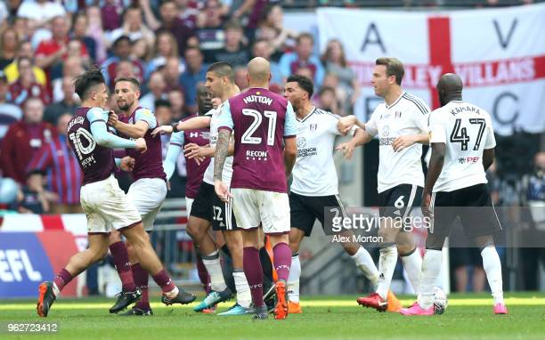 Aston Villa and Fulham players clash during the Sky Bet Championship Play Off Final between Aston Villa and Fulham at Wembley Stadium on May 26 2018...