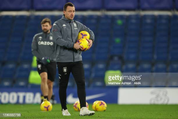 Aston Villa assistant coach John Terry during the Premier League match between Chelsea and Aston Villa at Stamford Bridge on December 28, 2020 in...