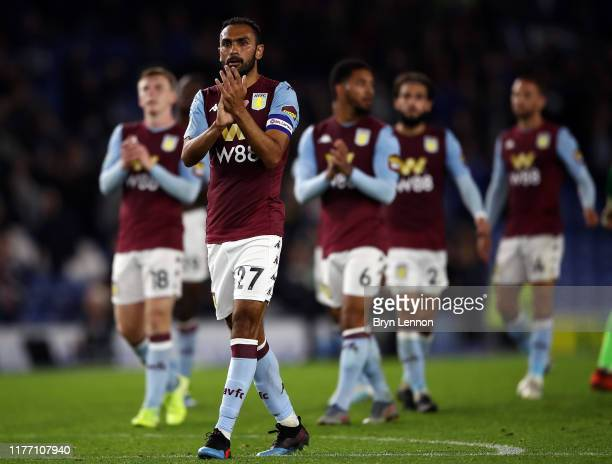Aston Villa Captain Ahmed Elmohamady applauds fans after winning during the Carabao Cup Third Round match between Brighton & Hove Albion and Aston...