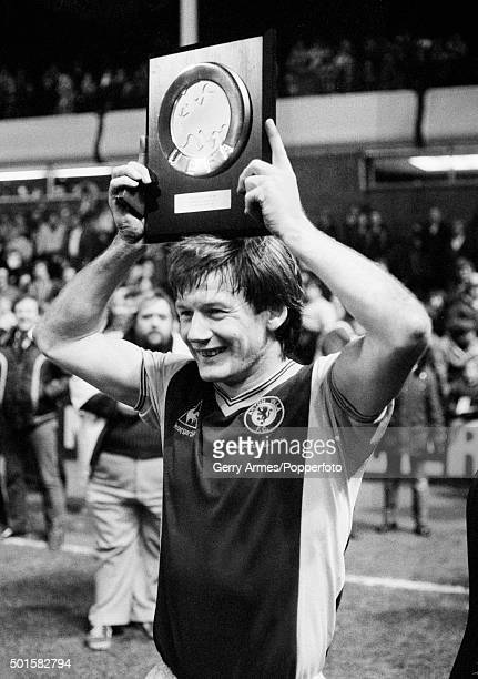 Aston Villa captain Ken McNaught holding the trophy after Villa had beaten Barcelona in the UEFA Super Cup Final 2nd leg at Villa Park in Birmingham...