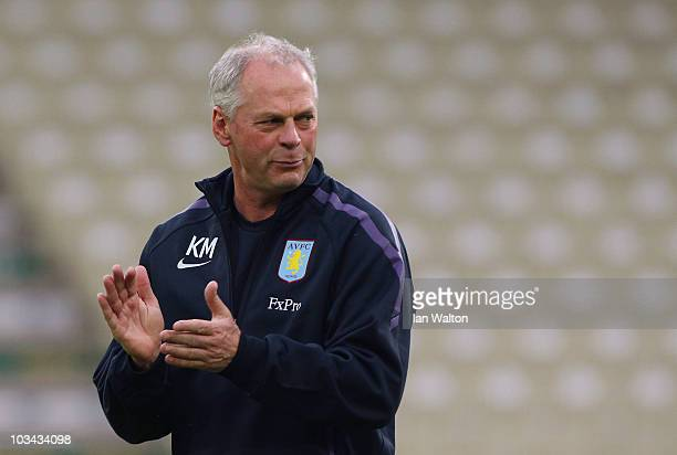 Aston Villa caretaker manager Kevin MacDonald looks on during a training session ahead of their UEFA Europa League qualifying first leg match against...