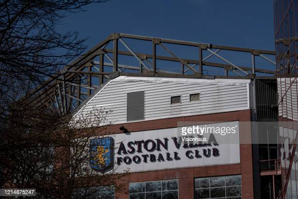 Aston Villa club crest featuring the The Rampant Lion of Scotland hallmark on the side of the Trinity Road Stand at Villa Park home of Aston Villa FC...