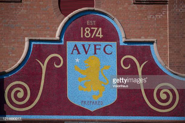 Aston Villa club crest featuring the The Rampant Lion of Scotland hallmark on the outside of the Holte End at Villa Park home of Aston Villa FC on...