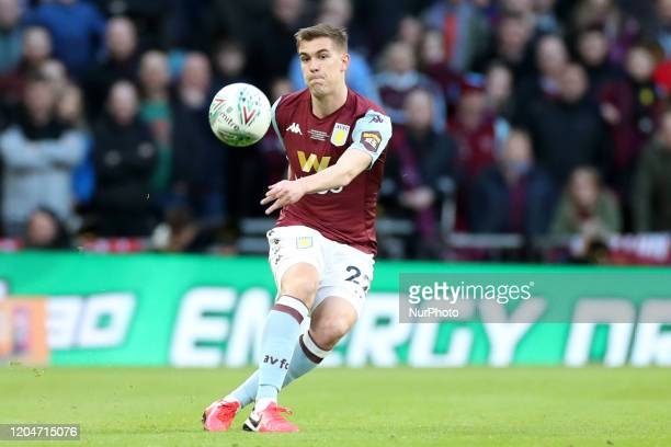 Aston Villa defender Bjorn Engels clears upfield during the Carabao Cup Final between Aston Villa and Manchester City at Wembley Stadium, London on...