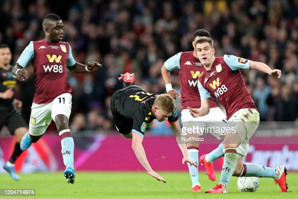 Aston Villa defender Bjorn Engels puts in a tackle on Manchester City midfielder Kevin de Bruyne during the Carabao Cup Final between Aston Villa and...
