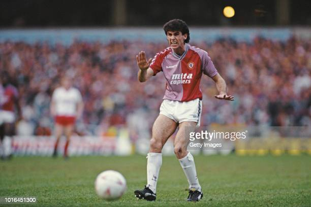 Aston Villa defender Martin Keown in action during the FA Cup 4th Round match against Liverpool at Villa Park on January 31 1988 in Birmingham England