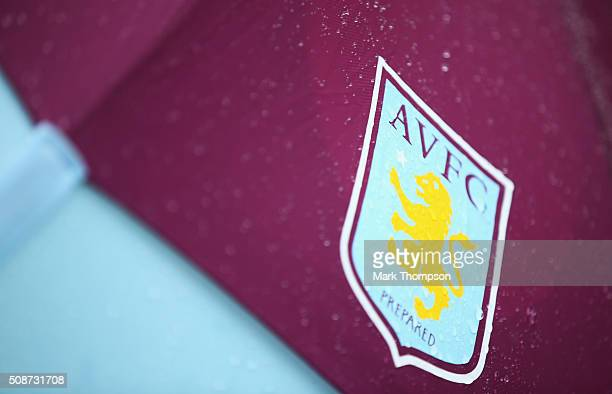 Aston Villa emblem is seen prior to the Barclays Premier League match between Aston Villa and Norwich City at Villa Park on February 6 2016 in...
