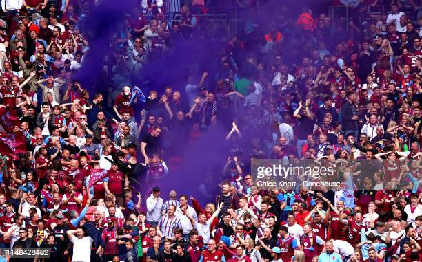 Aston Villa fans celebrate their teams first goal during the Sky Bet Championship PlayOff Final match between Aston Villa and Derby County at Wembley...