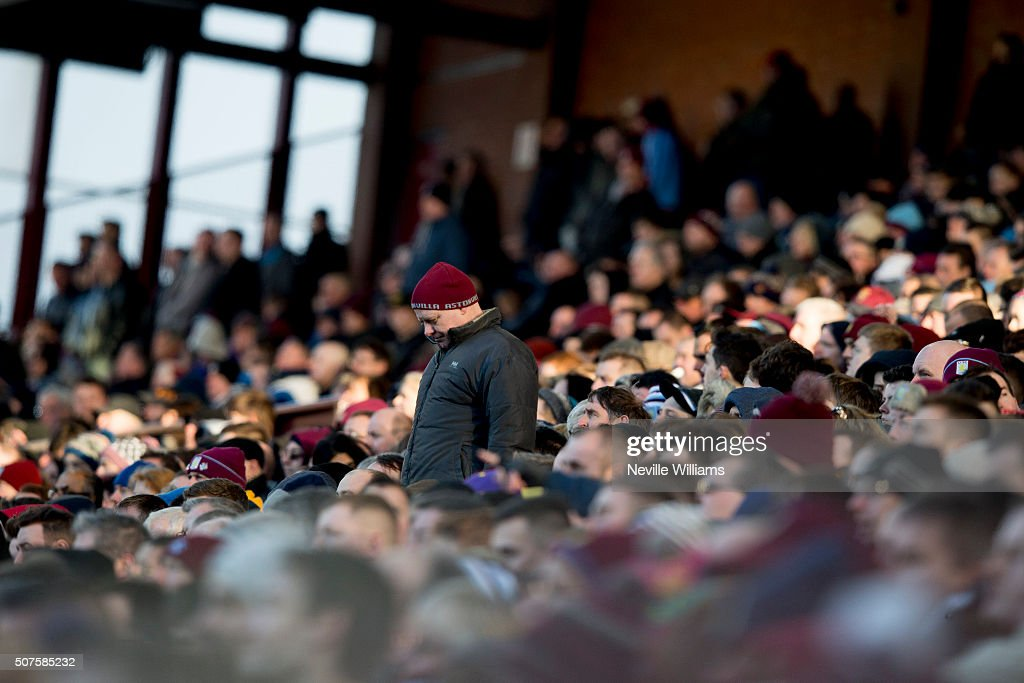 Aston Villa fans in the stands during the Emirates FA Cup Fourth Round match between Aston Villa and Manchester City at Villa Park on January 30, 2016 in Birmingham, England.