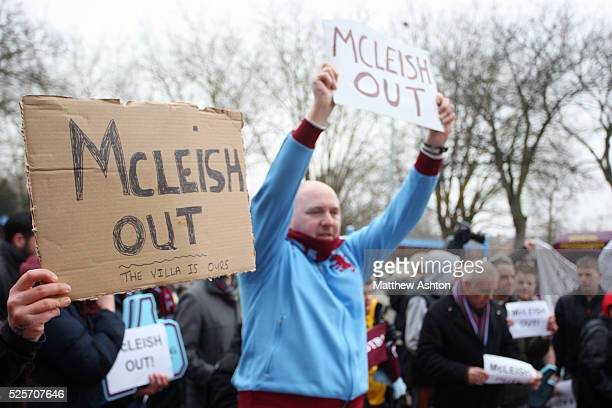 Aston Villa fans / supporters protest against Alex McLeish Manager / Head Coach of Aston Villa ahead of today match against Manchester City