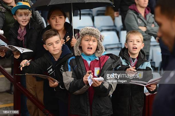 Aston Villa fans wait for autographs during the Barclays Premier League match between Aston Villa and Tottenham Hotspur at Villa Park on October 20...