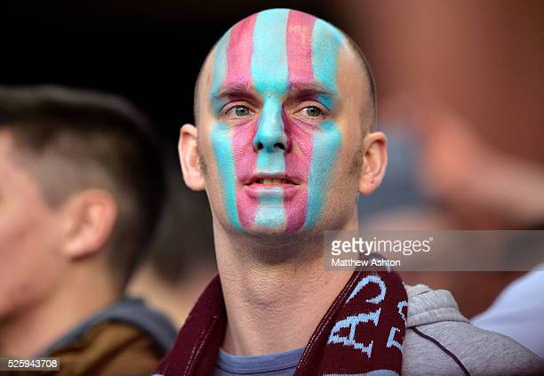 Aston Villa fans with painted faces
