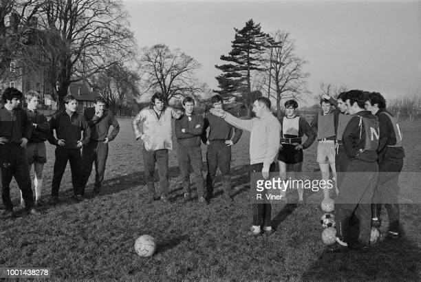 Aston Villa FC soccer players training with manager Tommy Docherty at Repton School UK 4th January 1969