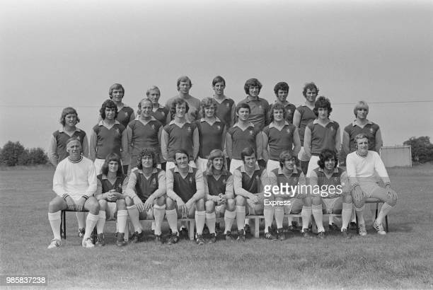 Aston Villa FC team squad players posed together on the pitch at a training ground in Birmingham at the start of the 197273 football season on 17th...
