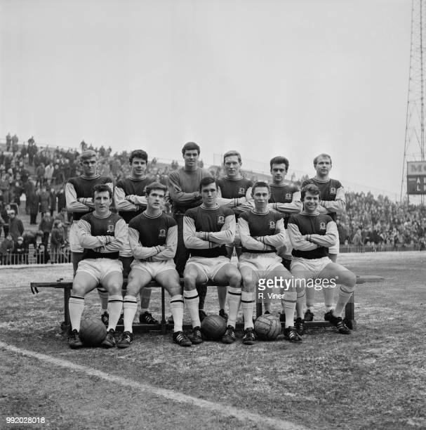 Aston Villa FC team squad players posed together on the pitch at Villa Park stadium in Aston Birmingham prior to the start of a match during the...