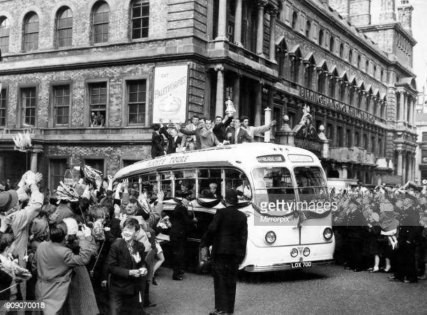 Aston Villa FC Victory Parade after winning 1957 FA Cup Final 21 against Manchester United yesterday pictured Sunday 5th May 1957