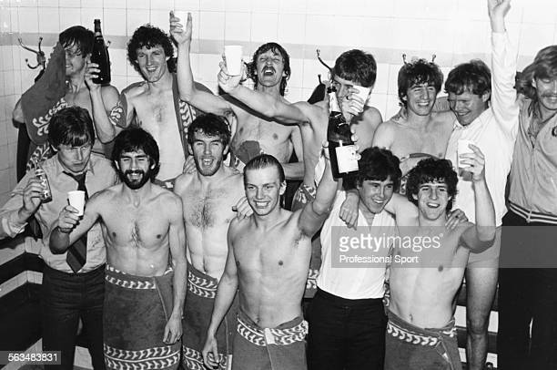 Aston Villa Football Club players and team members celebrate in the dressing room at Highbury after winning the First Division Championship despite...