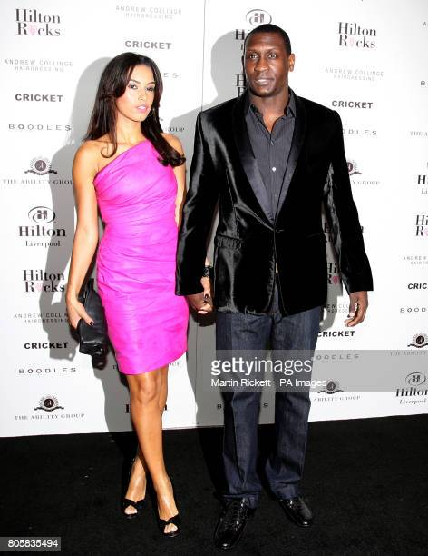 Aston Villa football player Emile Heskey with girlfriend Chantelle Tagoe at the official opening of the Hilton Hotel in LiverpoolPicture date...