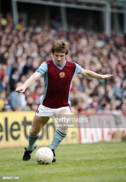 Aston Villa fullback Ken Swain in action during a First Division match at Villa Park in May 1982 in Birmingham England