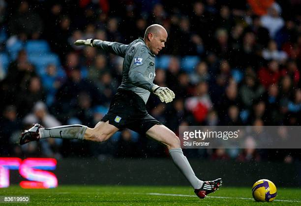 Aston Villa goalkeeper Brad Friedel takes a goal kick during the Barclays Premier League match between Aston Villa and Middlesbrough at Villa Park on...