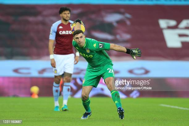 Aston Villa goalkeeper Emiliano Martinez in action during the Premier League match between Aston Villa and West Ham United at Villa Park on February...