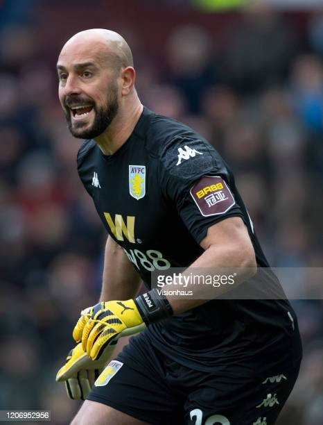 Aston Villa goalkeeper Pepe Reina during the Premier League match between Aston Villa and Tottenham Hotspur at Villa Park on February 16 2020 in...