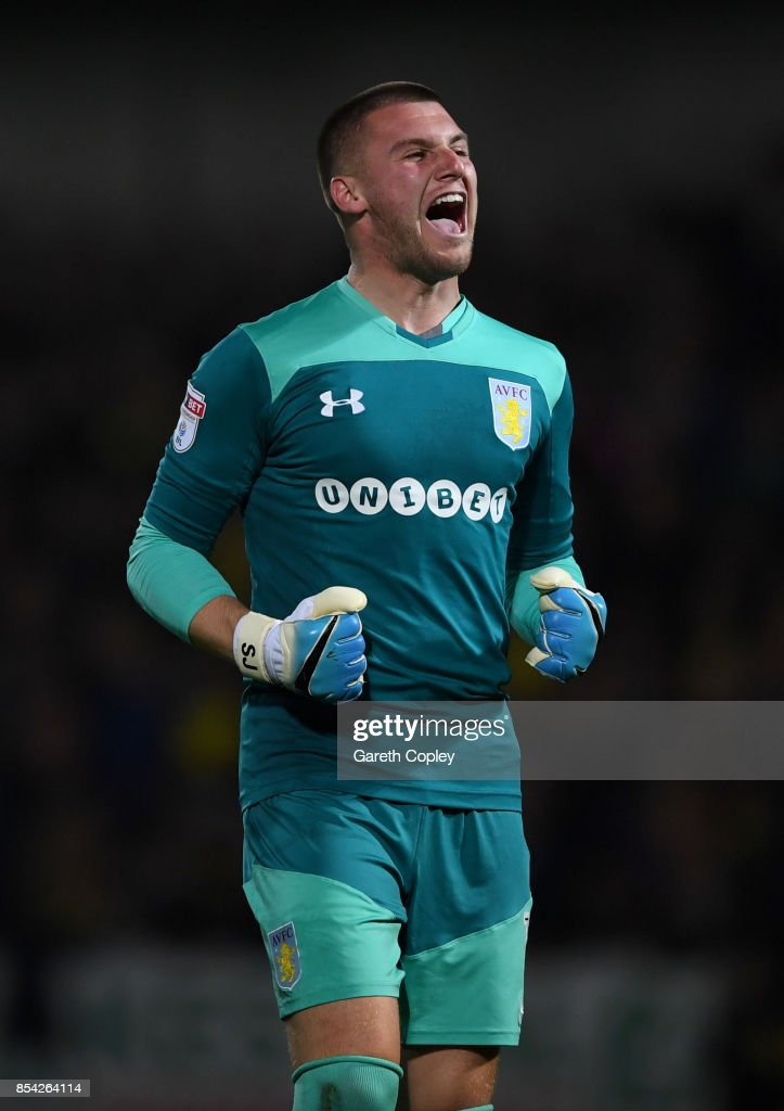Aston Villa goalkeeper Sam Johnstone celebrates his team's opening goal during the Sky Bet Championship match between Burton Albion and Aston Villa at Pirelli Stadium on September 26, 2017 in Burton-upon-Trent, England.