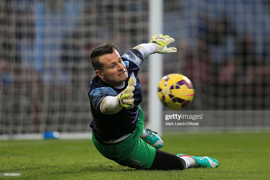 Aston Villa goalkeeper, Shay Given during the Barclays Premier League match between Aston Villa and Leicester City at Villa Park on December 7, 2014 in Birmingham, England.