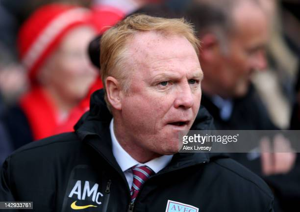 Aston Villa Manager Alex McLeish looks on prior to the Barclays Premier League match between Manchester United and Aston Villa at Old Trafford on...
