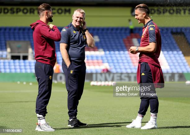 Aston Villa manager Dean Smith and Jack Grealish on the pitch ahead of the Premier League match at Selhurst Park London