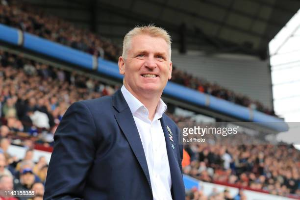 Aston Villa Manager Dean Smith during the Sky Bet Championship Play Off Semi Final first leg match between Aston Villa and West Bromwich Albion at...