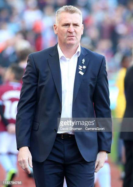 Aston Villa manager Dean Smith looks on before kick off during the Sky Bet Championship match between Aston Villa and Blackburn Rovers at Villa Park...