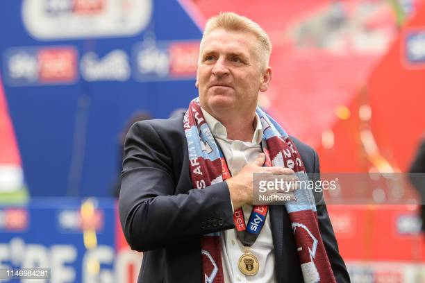 Aston Villa Manager Dean Smith puts his hand on his chest during the Sky Bet Championship match between Aston Villa and Derby County at Wembley...