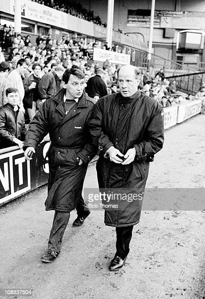 Aston Villa manager Graham Taylor with Newcastle United manager Jim Smith during their Division One match played at Villa Park, Birmingham on 14th...