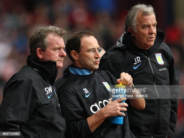 Aston Villa manager Martin O'Neill with his firrst team coach Steve Walford and assistant manager John Robertson on the touchline