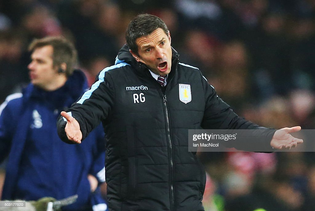 Aston Villa manager Remi Garde reacts during the Barclays Premier League match between Sunderland and Aston Villa at The Stadium of Light on January 02, 2016 in Sunderland, England.