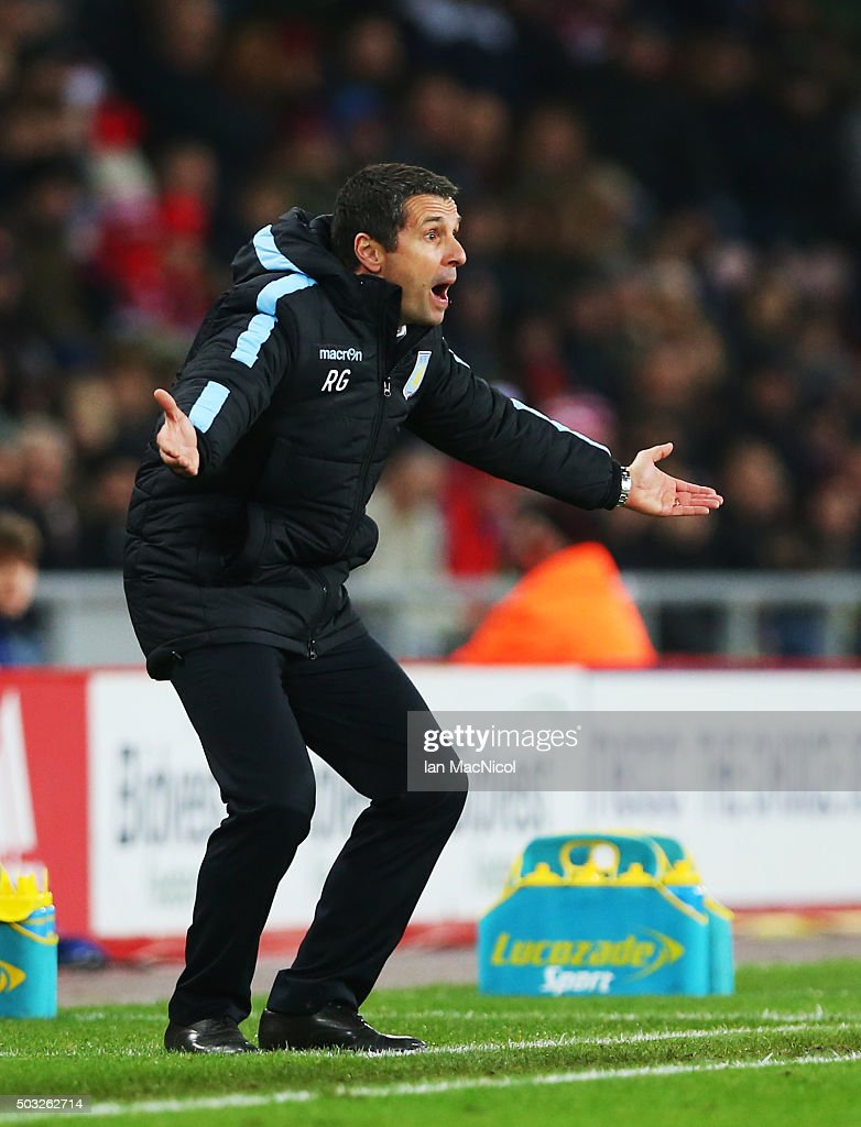 Aston Villa manager Remi Garde reacts during the match between Sunderland and Aston Villa at The Stadium of Light on January 02, 2016 in Sunderland, England.
