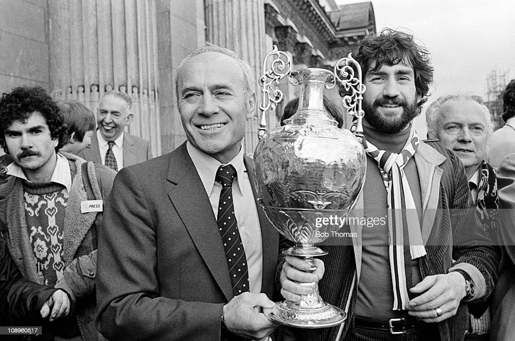 Aston Villa manager Ron Saunders and captain Dennis Mortimer (right) with the First Division League Championship trophy during their Civic Reception in Birmingham, 3rd May 1981.