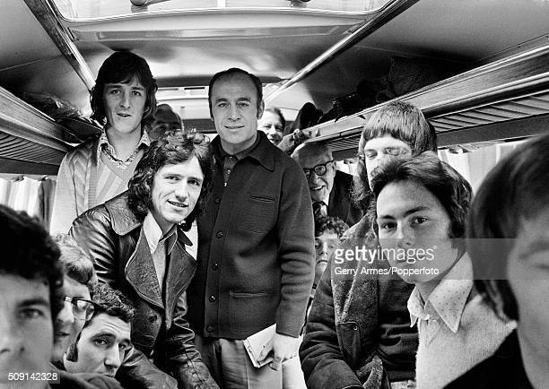 Aston Villa manager Ron Saunders and his players are on the bus to Wembley Stadium where they will face Norwich City in League Cup Final 27th...