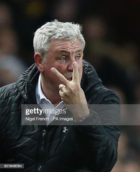 Aston Villa manager Steve Bruce gestures on the touchline during the Sky Bet Championship match at Villa Park, Birmingham.