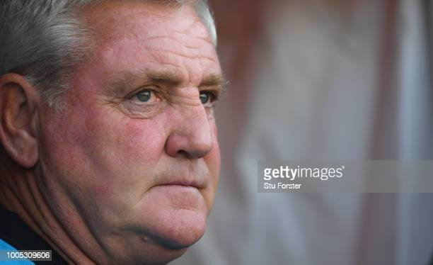 Aston Villa manager Steve Bruce looks on before a friendly match between Aston Villa and West Ham United at Banks' Stadium on July 25 2018 in Walsall...