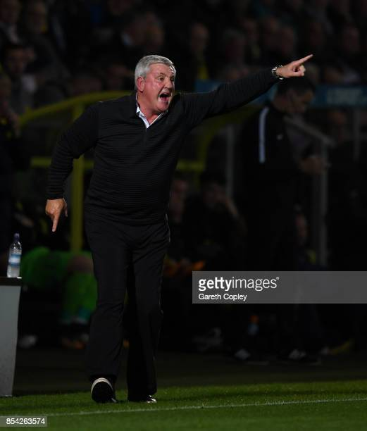 Aston Villa manager Steve Bruce shouts from the touchline during the Sky Bet Championship match between Burton Albion and Aston Villa at Pirelli...