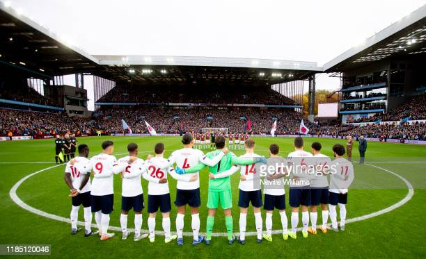Aston Villa mark remembrance day before the Premier League match between Aston Villa and Liverpool FC at Villa Park on November 02 2019 in Birmingham...