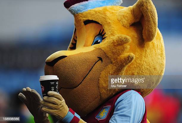 Aston Villa mascot Bella 'enjoys' a drink prior to the FA Cup with Budweiser Third Round match between Aston Villa and Ipswich Town at Villa Park on...