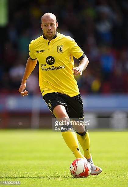 Aston Villa player Alan Hutton in action during the pre season friendly between Walsall and Aston Villa at Banks' Stadium on July 25 2015 in Walsall...
