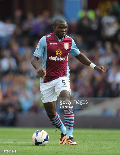 Aston Villa player Jores Okore in action during the Barclays Premier League match between Aston Villa and Liverpool at Villa Park on August 24 2013...
