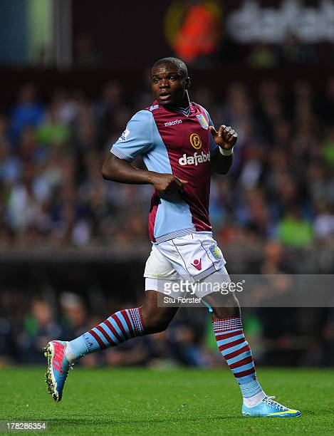 Aston Villa player Jores Okore in action during the Capital One Cup second round match between Aston Villa and Rotherham at Villa Park on August 28...