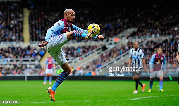 Aston Villa player Karim El Ahmadi in action during the Barclays Premier League match between Newcastle United and Aston Villa at St James' Park on...