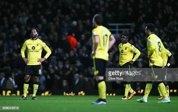 Aston Villa player react after West Ham's second goal during the Barclays Premier League match between West Ham United and Aston Villa at the Boleyn...