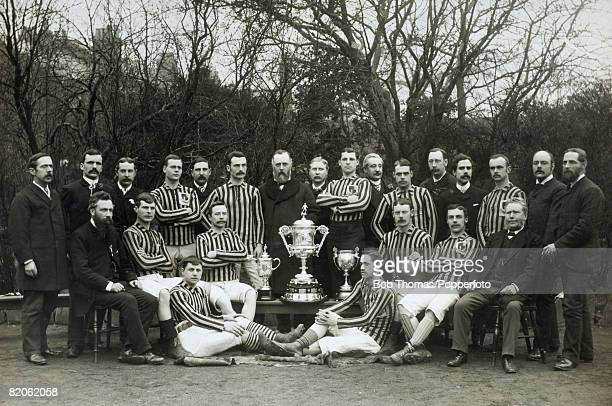 Aston Villa players and officials pose for an historic team photograph after winning the English FA Cup for the first time, in 1887. They had beaten...